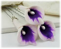 purple lilies picasso calla hair pins picasso calla hair