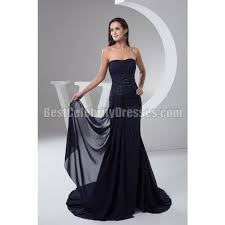 navy blue strapless ruching beaded chiffon prom dress wedding