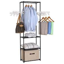 woltu clothing garment rack hanging with 4 hooks 3 tiers closet