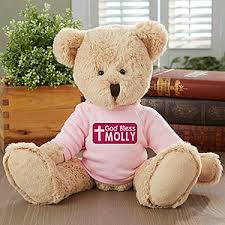 engraved teddy bears personalized religious teddy god bless pink