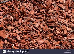 raw woodchips are used as an organic mulch in gardening stock