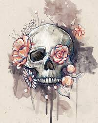 flower eye skull something similar to this same colours no