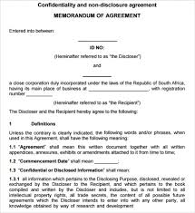 legal confidentiality agreement non disclosure agreement template