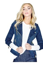 slim fit denim biker jacket in sky wash guess com guess the