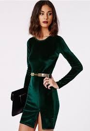 vestidos de terciopelo tendencia invierno 2016 green velvet