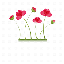 six red cartoon poppies vector clipart image 23161 u2013 rfclipart