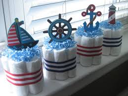 nautical decorations with the painting of sharks and pirates also