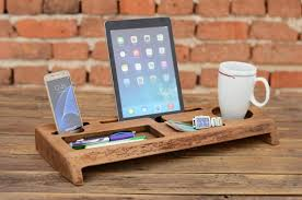 Gifts For Office Desk Wooden Desk Organizer Office Organizer Phone Station Solid Wood