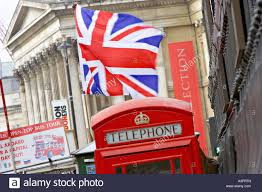 British Flag With Red British Flag And Telephone Booth London England British Flag Stock