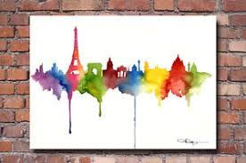 paris skyline art print watercolor painting eiffel tower city wall