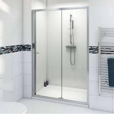 White Shower Door Bathroom Bright Sliding Glass Shower Doors With Modern Chrome
