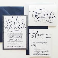 Wedding Invitation Suite Blue And Silver Custom Hand Lettered Wedding Invitation Suite