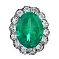 Emerald Platinum 13ct Oval Emerald With Diamond Halo Engagement Ring