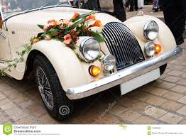 vintage wedding car decorated with flowers royalty free stock