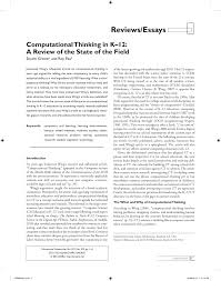 computational thinking in k u201312 a review of the state of the field