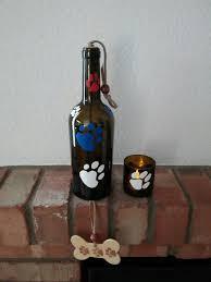 Patriotic Garden Decor Wine Bottle Wind Chime Patriotic Yard Art Dog Lover Windchime