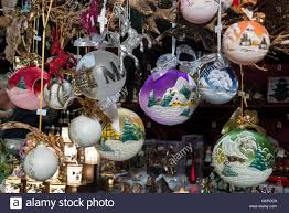 a colourful display of painted baubles on sale at the
