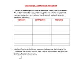 element compound and mixture worksheets with answers by