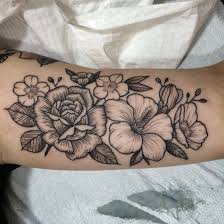 flower tattoos on forearm woodcut flowers rose and hibiscus instagram jenniferlawes