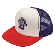 baseball ribbon pbr trucker hat pabst blue ribbon store