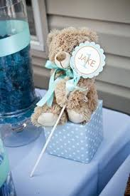 baby shower teddy centerpiece orange and blue