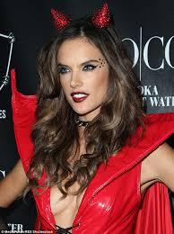 Womens Devil Halloween Costumes Uk Alessandra Ambrosio Flashes Cleavage Red Devil Costume