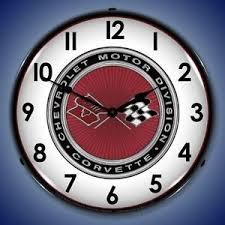 c3 corvette flags chevrolet c3 corvette flags vintage 14 lighted wall clock ebay