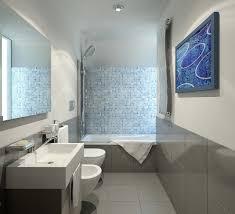modern bathroom vanities near bathtub with grey granite backsplash