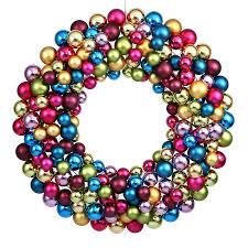 shop vickerman ball wreath 24 in multi ornament artificial
