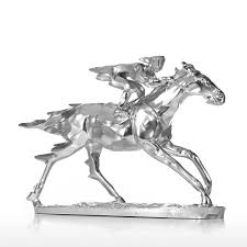 Horse Bridle Decorations Best And Cheap Silver Horse Racing Knight Resin Sculpture Statue