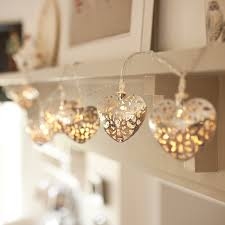 10 silver filigree heart battery operated led fairy lights by