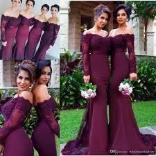 evening wedding bridesmaid dresses 2017 burgundy sleeves mermaid bridesmaid dresses lace