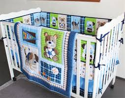 Puppy Crib Bedding Sets Blue Sports Puppy Baby Bedding Set Crib Nursery Quilt Bumper