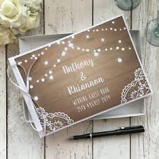 wedding guest book personalised wedding guest book rustic white vintage wood lace
