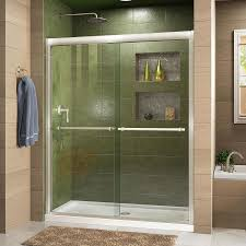 shop dreamline duet 56 in to 60 in w frameless brushed nickel
