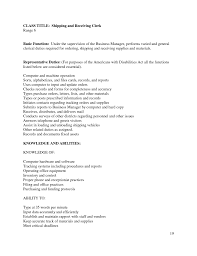 Scanning Clerk Resume Cover Letter Shipping And Receiving Sample Resume Free Sample