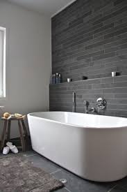 bathroom gray painted accent wall small white wooden bathroom
