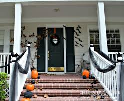 halloween front porch decoration with black crows welcome to my