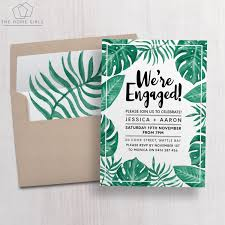 Engagement Invitation Cards Online Printable Engagement Invitation Palm Leaf By Thehomegirlsetsy