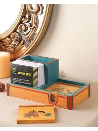 ethnic wooden pen stand desk stationery holder vacdd008