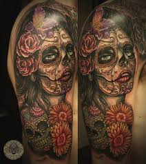 santa muerte sugar skull 2 by 2face tattoo on deviantart