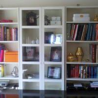 furniture white bookcase with doors and drawers plus wooden