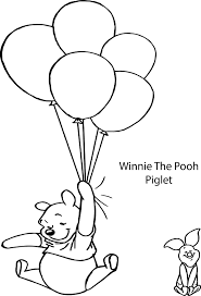 winnie the pooh and piglet balloon coloring page wecoloringpage