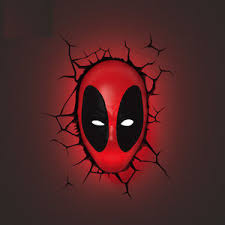 wall mounted night light marvel 3d fx deco led night light deadpool mask wall mounted design