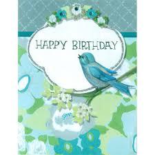 birthday card happy birthday card blue u0026 green flowers u0026 bird