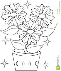flower pot coloring page printable glum me