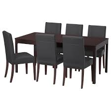 dining sets up to 6 seats dining sets ikea ekedalen henriksdal table and 6 chairs dark brown glose black table min