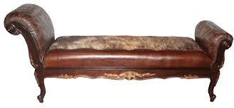 Leather Chaise Lounge Hair On Hide And Tooled Leather Chaise Lounge
