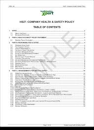 template free printable health and safety policy health and