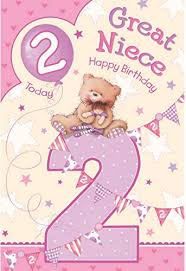 great niece 2nd 2 today happy birthday card with a lovely verse